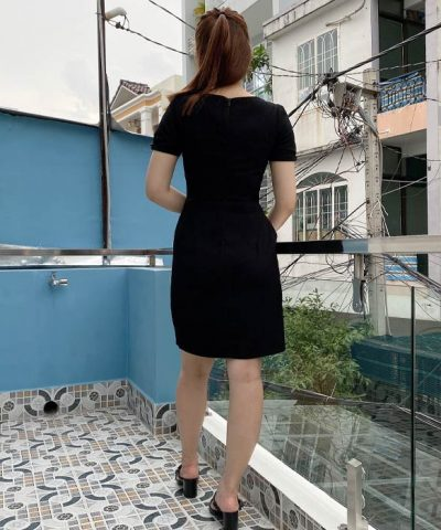 Đầm liền công sở dáng chữ a màu đen đẹp