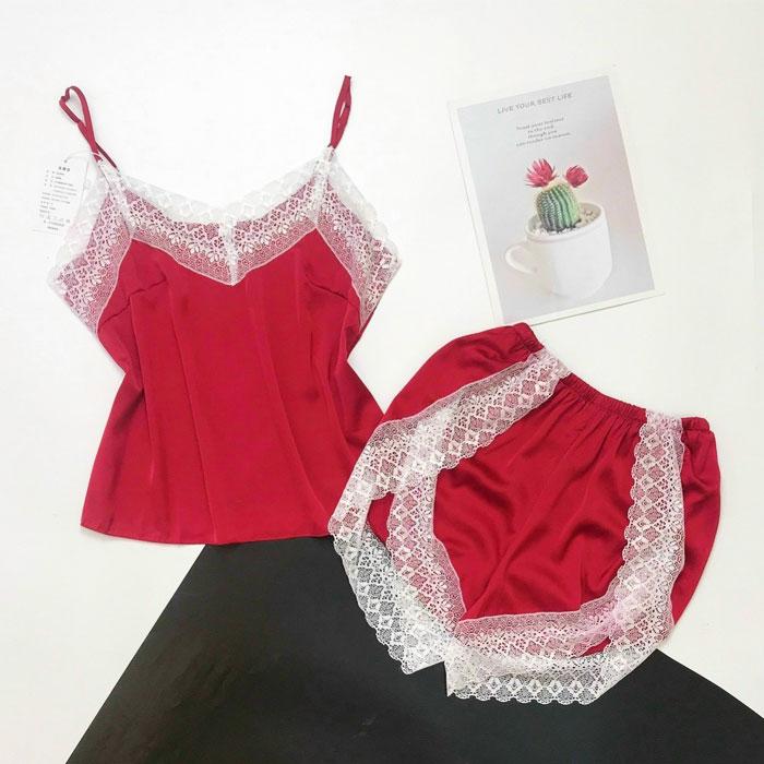 Đồ bộ 2 dây mặc nhà màu đỏ viền ren trắng
