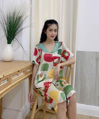 Đồ bộ nữ lụa Satin cao cấp quần lửng mẫu 10