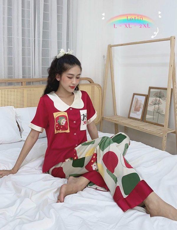 Đồ bộ nữ lụa Satin phối 2 túi in 3D mẫu 5