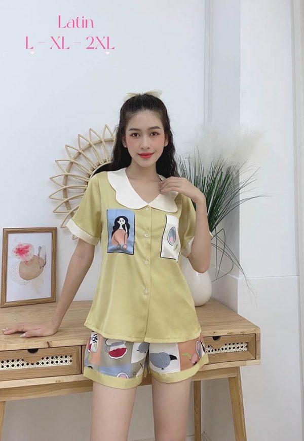 Đồ bộ nữ lụa Satin phối 2 túi in 3D quần đùi mẫu 1