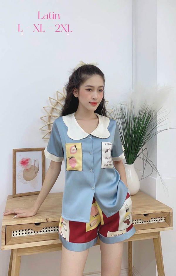 Đồ bộ nữ lụa Satin phối 2 túi in 3D quần đùi mẫu 2