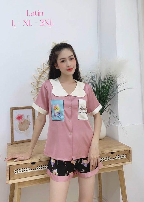 Đồ bộ nữ lụa Satin phối 2 túi in 3D quần đùi mẫu 3