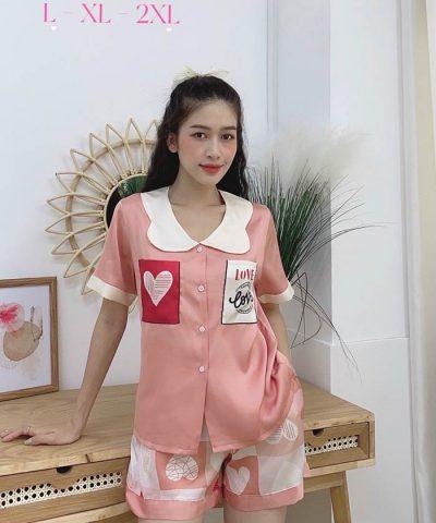 Đồ bộ nữ lụa Satin phối 2 túi in 3D quần đùi mẫu 4