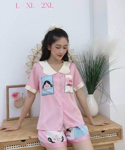Đồ bộ nữ lụa Satin phối 2 túi in 3D quần đùi mẫu 7