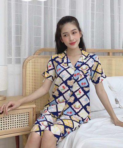 Đồ bộ nữ lụa Thái quần lửng mẫu 1