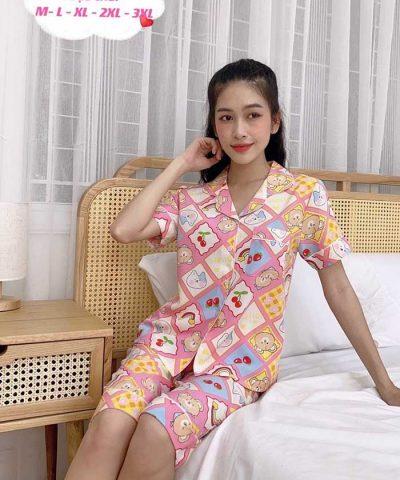 Đồ bộ nữ lụa Thái quần lửng mẫu 13