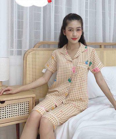 Đồ bộ nữ lụa Thái quần lửng mẫu 2